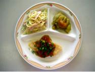白身魚のあんかけ・スパゲッティサラダ・焼きなすの田楽
